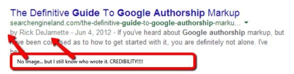 Google listing without authorship profile photo