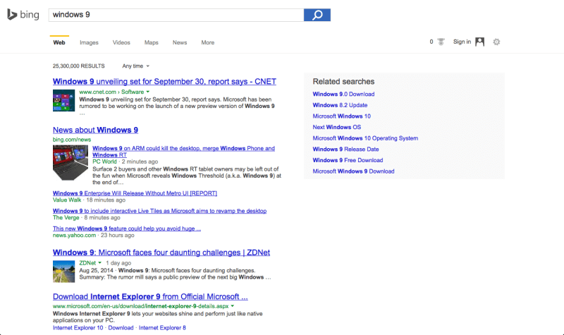 Bing works on a new interface