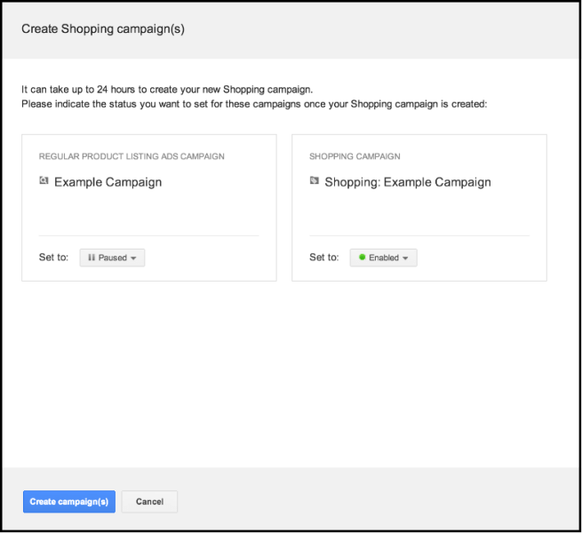 Google Shopping Campaign Upgrade tool