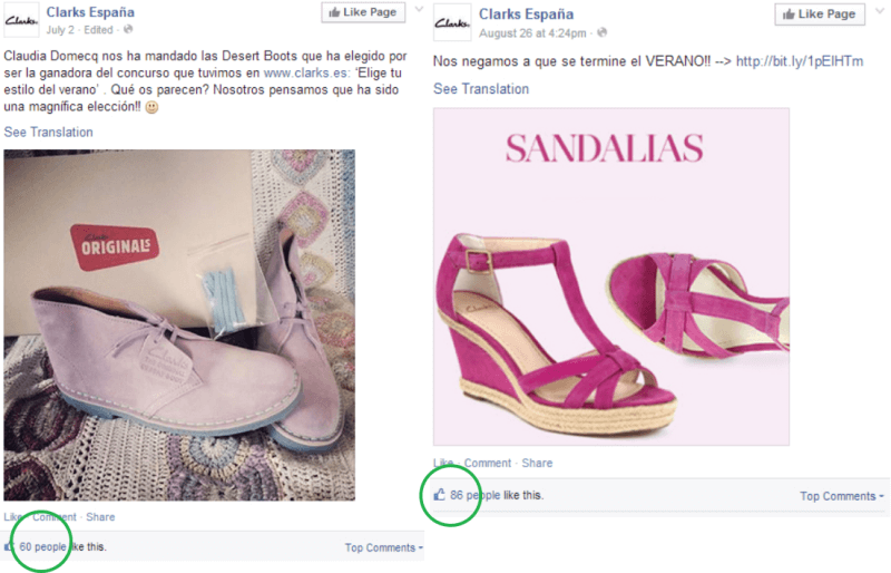 Clarks Spain gets good engagement for posts like this.