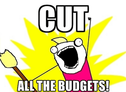 A meme showing cut all the budgets