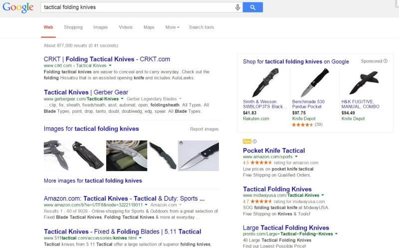 Google AdWords policy tactical folding knives allowed