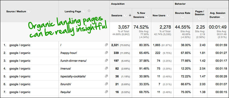 Google Analytics - organic landing pages