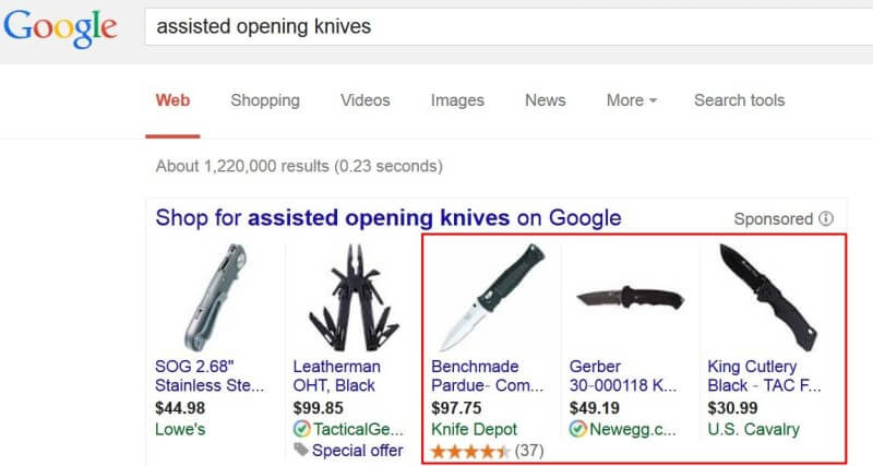 Google AdWords weapons ad policy - Assisted opening knives