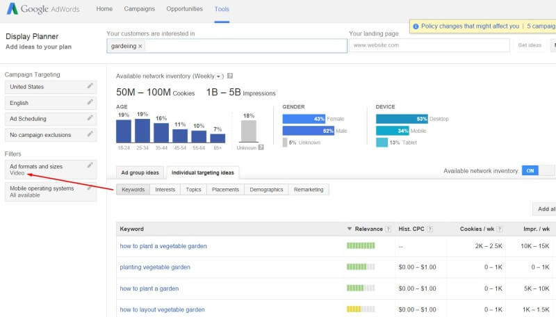 Google sunsets YouTube keyword tool for AdWords Display Planner