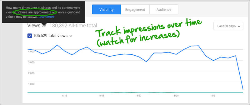 Google My Business Insights - monthly impressions