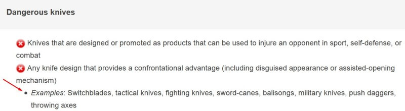 Google AdWords ad policy new on knives