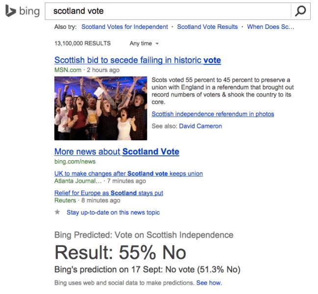 Bing Scotland result