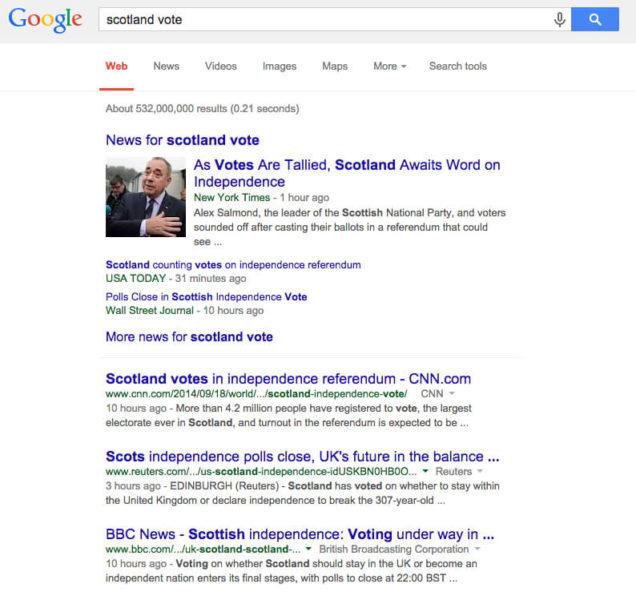 Google Scotland vote