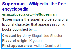 superman wikipedia listing with structured data snippets