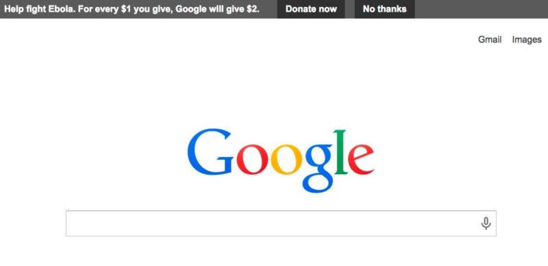 Google ebola donation request