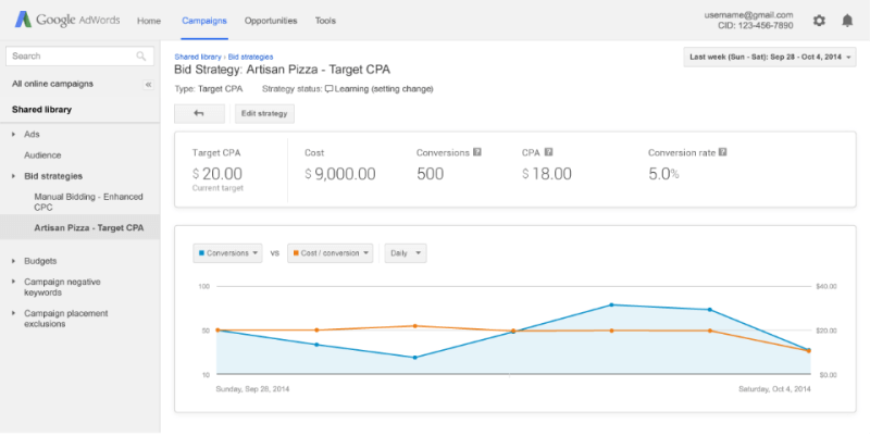 Google AdWords better flexible bidding strategy reports