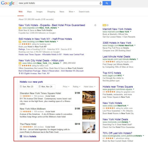 Google local 3-pack organic listings for hotels replaces knowledge graph carousel