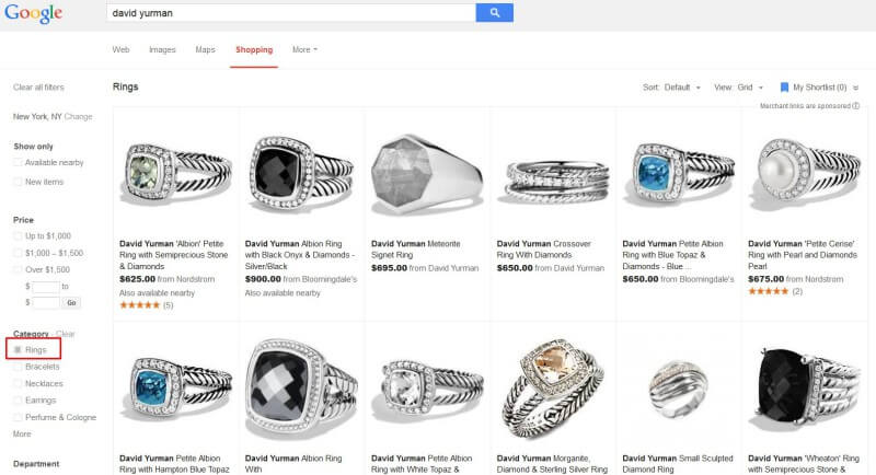 Google Shopping results filtered by category