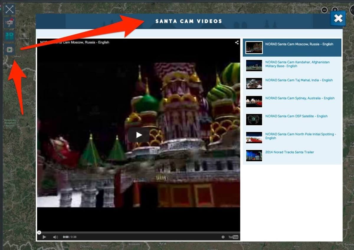 NORAD Santa Cam videos
