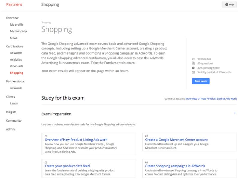 google shopping certification exam