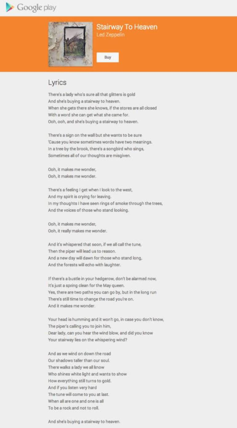stairway to heaven lyrics on google play