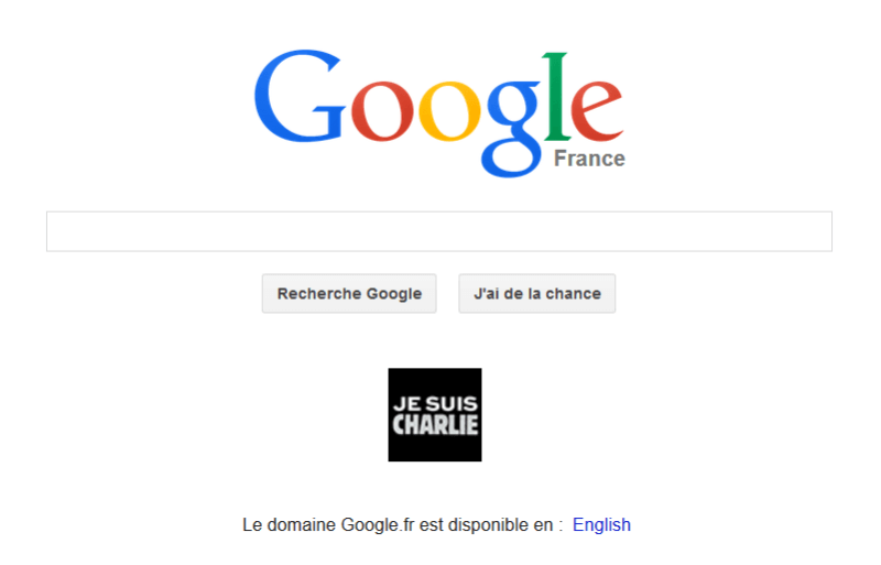Google France homepage charlie hebdo