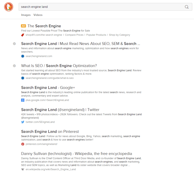 search engine land at DuckDuckGo