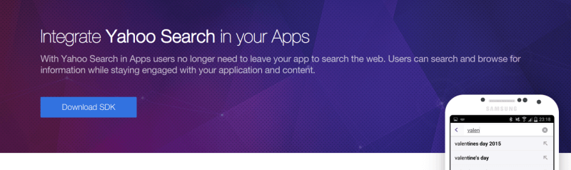 Yahoo search in apps