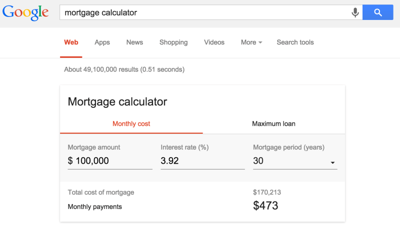 google-mortgage-calculator