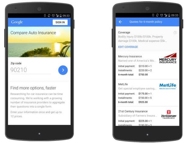 car insurance google compare