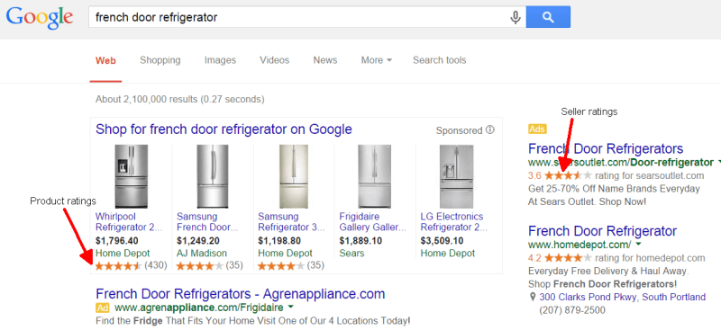 google product ratings on product listing ads