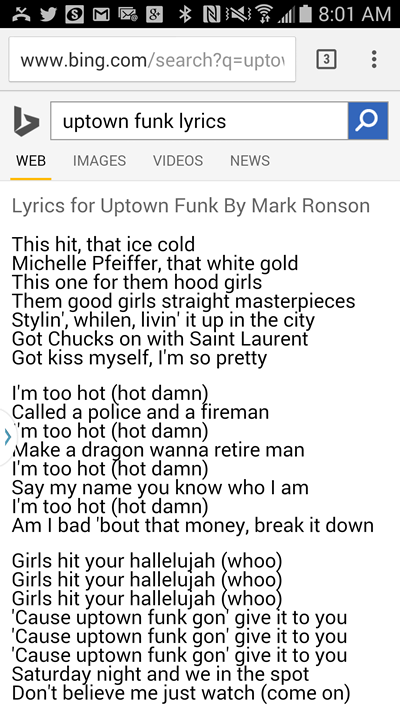 lyrics bing mobile uptown funk
