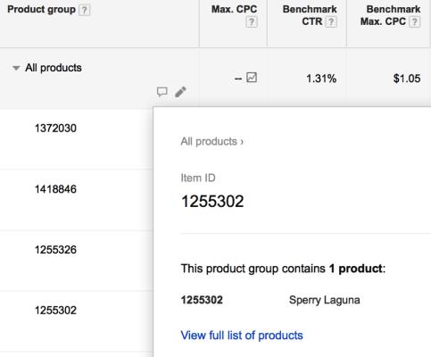 SEL_Prodcut ID listing