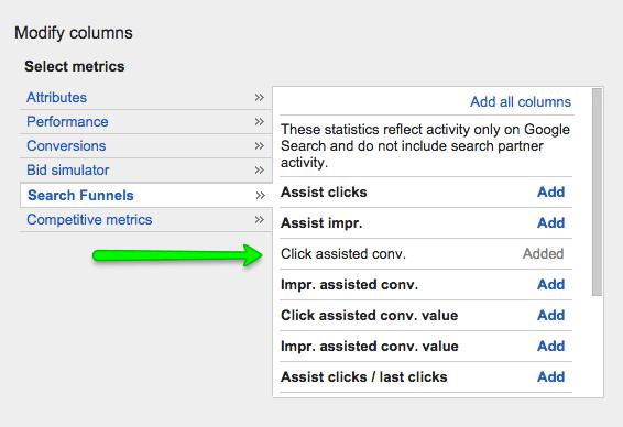 click assisted conversion column