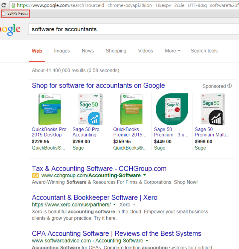 An example of a search result listing competitors.