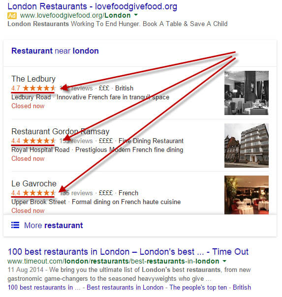 London restaurants search