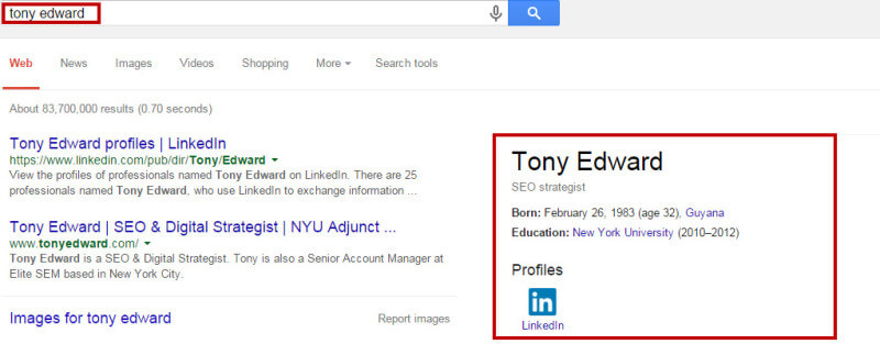 Tony Edward Knowledge Graph Result
