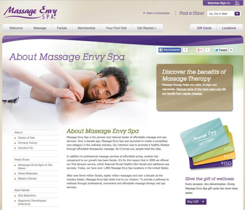 Massage Envy About Us Page Image - Search Influence