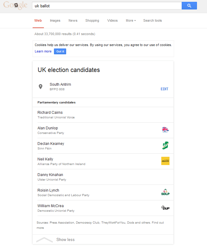UK election google search results