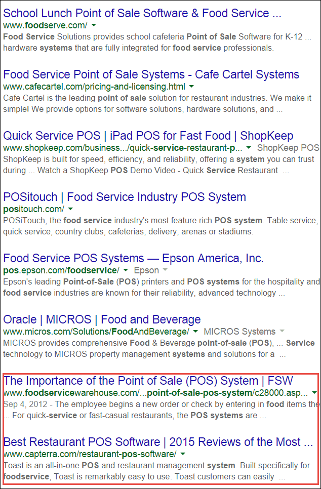 Example of finding advertising opportunities within your primary keywords' search result.