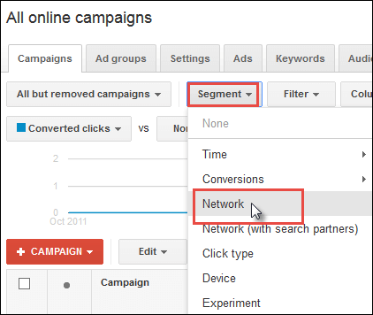 Screenshot of how to segment by network within Google AdWords.