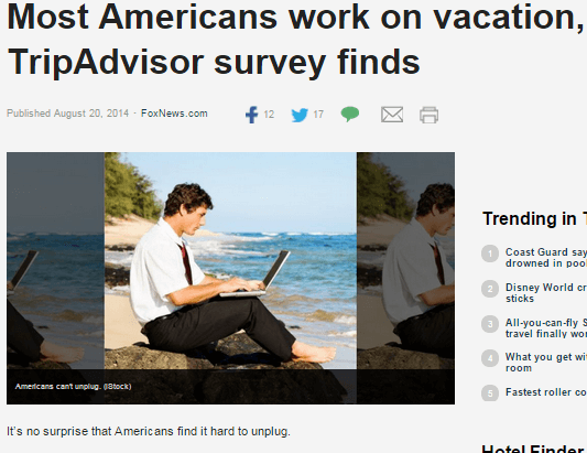 Press for TripAdvisor's Study on Work Habits