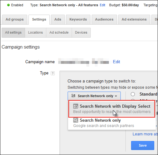 Screenshot of how to update existing campaigns with display select keywords.