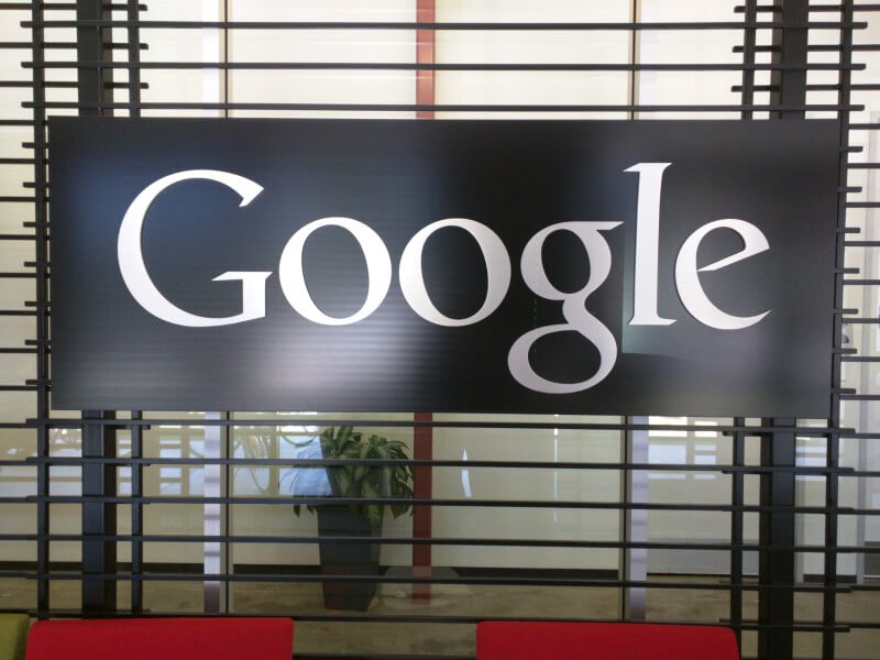 Google Silver Lobby Sign