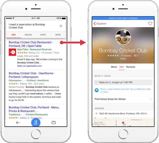 Google iOS app indexing