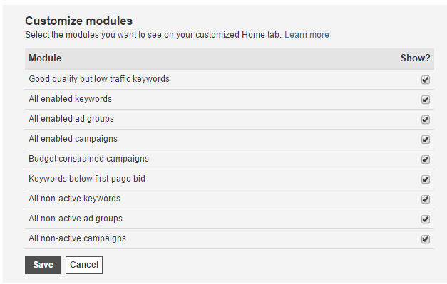 bing ads home page modules