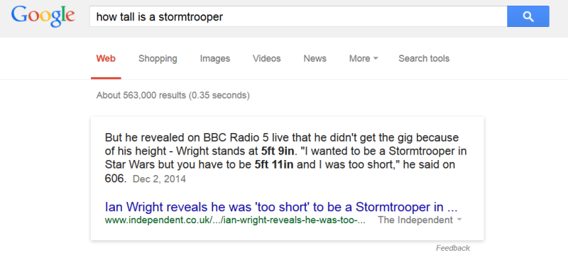 how tall is a stormtrooper