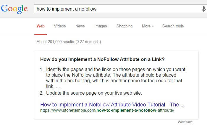 How to Implement a NoFollow Featured Snippet