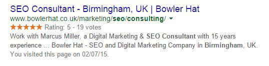 rich snippet showing review stars in organic search results