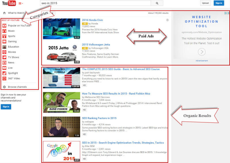 YouTube Search Result Page
