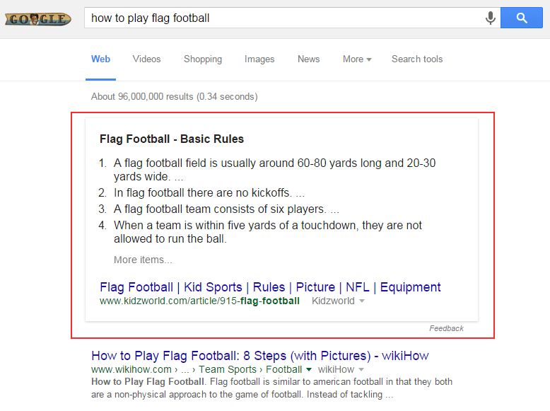 Flag Football Featured Snippet