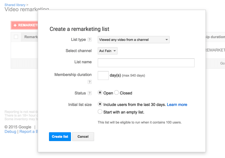 video ad remarketing shared library adwords