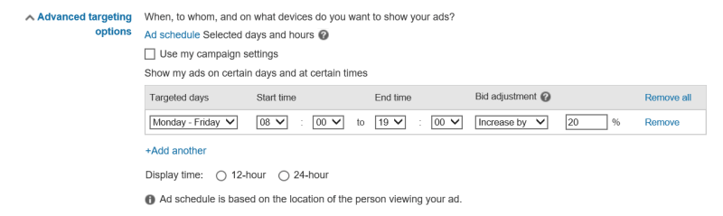 Ad Scheduling functionality screenshot