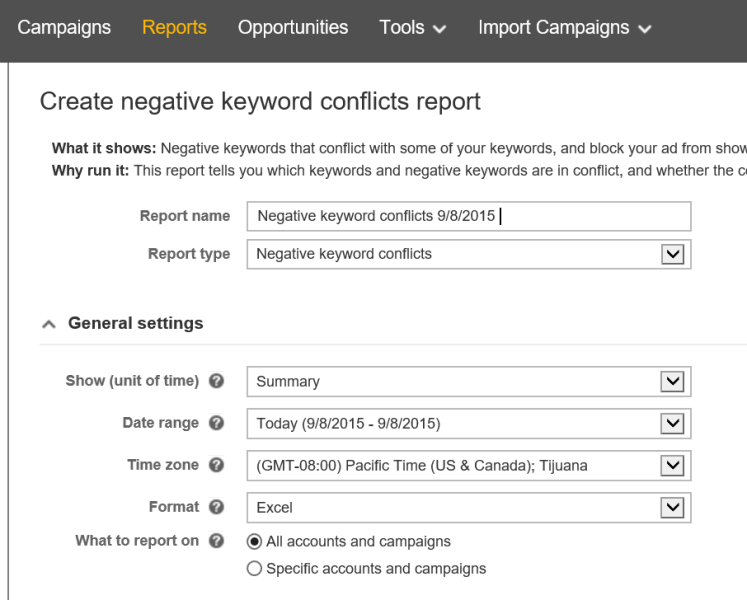 Negative keyword conflict report